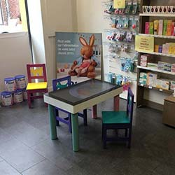 Touch table for children at a pharmacy